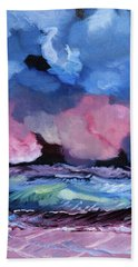 Beach Towel featuring the painting Billowy Clouds Afloat by Meryl Goudey