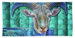 Beach Towel featuring the digital art Billy Goat Blue by Mimulux patricia No