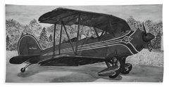 Biplane In Black And White Beach Sheet by Megan Cohen