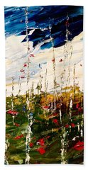 Birch And Clouds Beach Towel