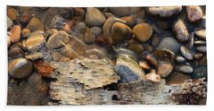 Birch Bark And Ice In The Creek Four  Beach Towel