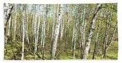 Birch Forest In Spring Beach Towel