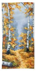 Birch Forest Path Beach Towel