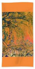 Birch Tree And Orange Sky - Winter Beach Sheet