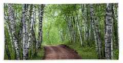 Beach Towel featuring the photograph Birch Tree Forest Path #3 by Patti Deters