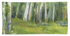 Birch Trees And Spring Field Beach Towel