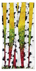 Beach Towel featuring the mixed media Birch Forest Trees by Christina Rollo