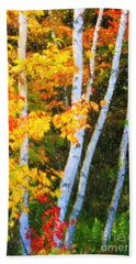 Birch Trees Beach Towel by Verena Matthew