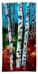 Beach Towel featuring the painting Birch Woods 2 by Sonya Nancy Capling-Bacle