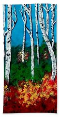 Beach Towel featuring the painting Birch Woods by Sonya Nancy Capling-Bacle