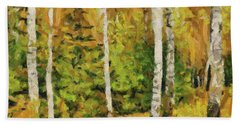 Birches And Spruces Beach Sheet