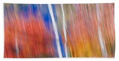 Birches In Red Forest Beach Towel