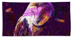 Beach Towel featuring the digital art Bird Barn Owl Owl Barn Animal  by PixBreak Art