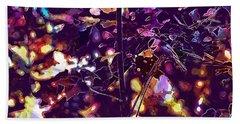 Beach Sheet featuring the digital art Bird Chickadee Black  by PixBreak Art