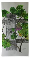 Beach Towel featuring the painting Bird Condo by Jack G Brauer