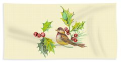Bird Holly And Berries Beach Towel