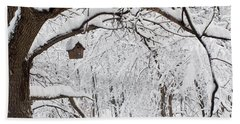 Bird House In Snow Beach Towel