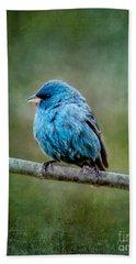 Bird In Blue Indigo Bunting Ginkelmier Inspired Beach Sheet