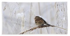 Bird In First Frost Beach Towel