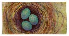 Bird Nest Beach Towel by Hailey E Herrera