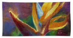Beach Sheet featuring the painting Bird Of Paradise - Tropical Hawaiian Flowers by Karen Whitworth