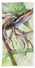 Beach Towel featuring the painting Bird Of Paradise, A Faded Beauty by Nadine Dennis
