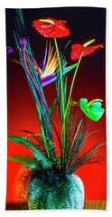 Bird Of Paradise And Anthuriums In Vase Beach Towel