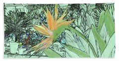 Beach Towel featuring the photograph Bird Of Paradise In The Hothouse by Nareeta Martin