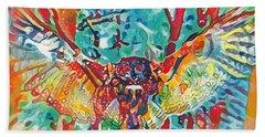 Bird Of Prey The Great Horned Owl Beach Sheet