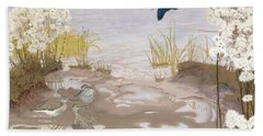 Bird On The Mud Flats Of The Elbe Beach Towel by Friedrich Lissmann