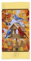 Bird Painting - Autumn Aquaintances Beach Sheet by Crista Forest