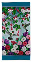 Bird Painting - Hummingbird Heaven Beach Towel by Crista Forest