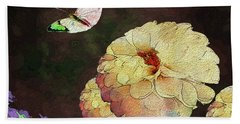 Flower Knows, When Its Butterfly Will Return Beach Towel