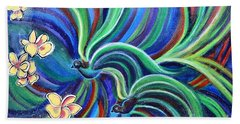 Bird Symphony With Frangipani Beach Sheet