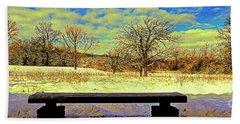 Bird Watchers Bench Winter Crabtree Nature Center Cook County Il Beach Towel