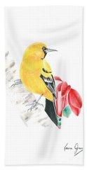 Bird In Yellow Beach Towel