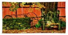 Beach Towel featuring the photograph Birdhouse Chair In Autumn by Jeff Folger