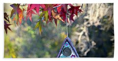 Beach Sheet featuring the photograph Birdhouse Under The Autumn Leaves by AJ Schibig