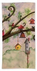 Birdhouses Beach Towel