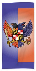 Birdland Baltimore Raven And Oriole Maryland Crest Beach Towel