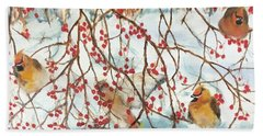 Birds And Berries Beach Towel