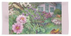 Birds And Bunnies In Cottage Garden Beach Sheet by Judith Cheng