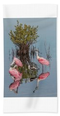 Birds And Mangrove Bush Beach Towel