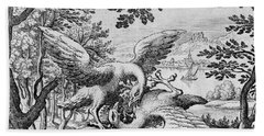 Birds Fighting From Musaeum Hermeticum, 1678 Beach Towel