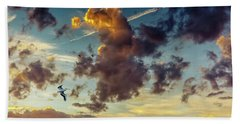 Birds In Flight At Sunset Beach Towel