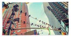 Birds In New York City Beach Towel