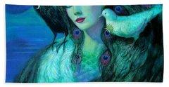 Birds Of Duality Fantasy Art Beach Towel