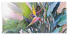 Beach Towel featuring the mixed media Birds Of Paradise  by Lucia Sirna