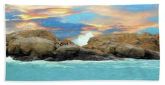 Birds On Ocean Rocks Beach Towel