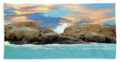 Birds On Ocean Rocks Beach Sheet